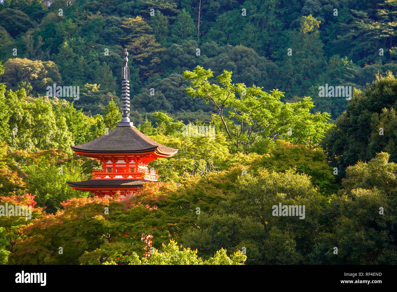 Kiyomizu-dera, officially Otowa-san Kiyomizu-dera, is an independent Buddhist temple in eastern Kyoto, Japan Stock Photo