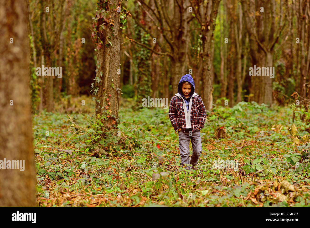 Homeless and abandoned. Homeless child walk in woods. Homeless boy without parental care outdoor. Street child has to seek homeless shelter and food. Homelessness among children is a serious issue - Stock Image