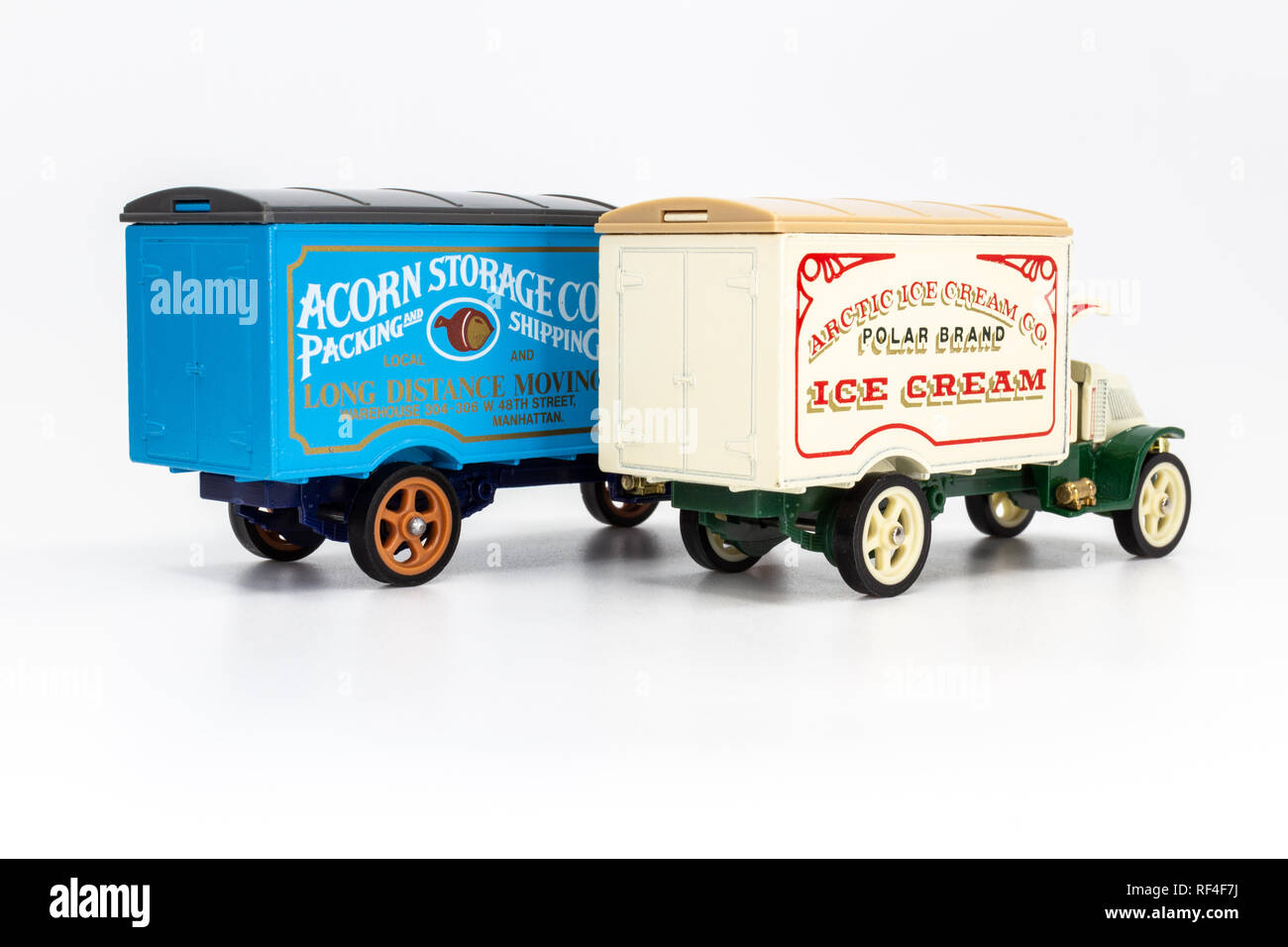 Matchbox Models of Yesteryear Y-30 Mack model AC truck 1920 - Acorn Storage and Arctic Ice Cream rear view - Stock Image