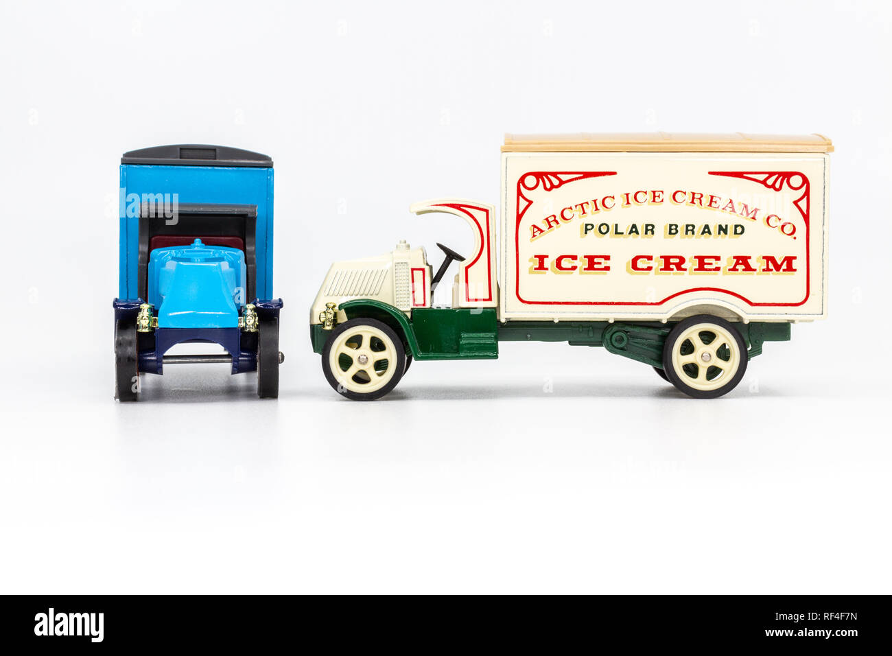 Matchbox Models of Yesteryear Y-30 Mack model AC truck 1920 - Acorn Storage front view and Arctic Ice Cream side view - Stock Image