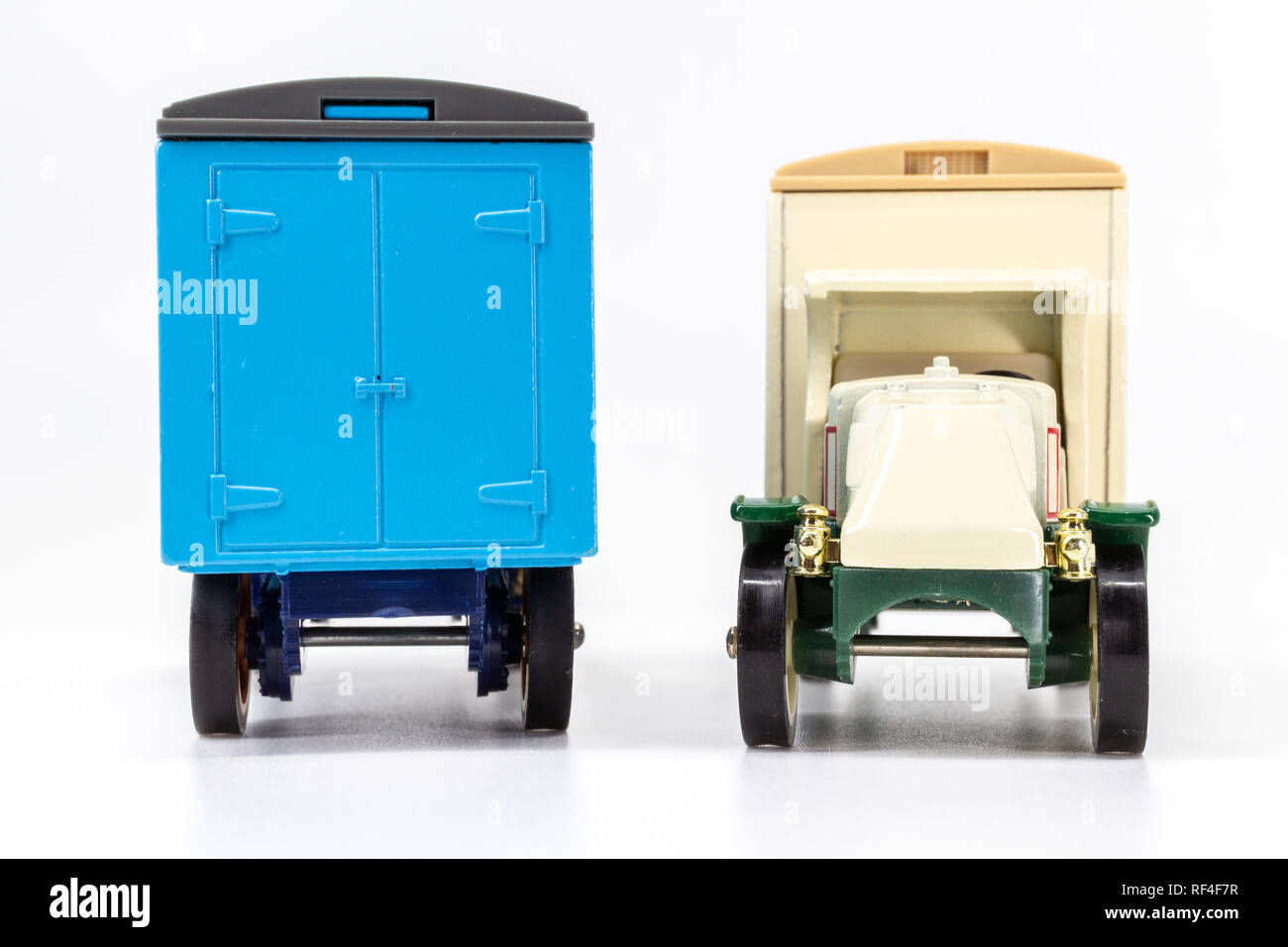 Matchbox Models of Yesteryear Y-30 Mack model AC truck 1920 - Acorn Storage rear view and Arctic Ice Cream front view - Stock Image