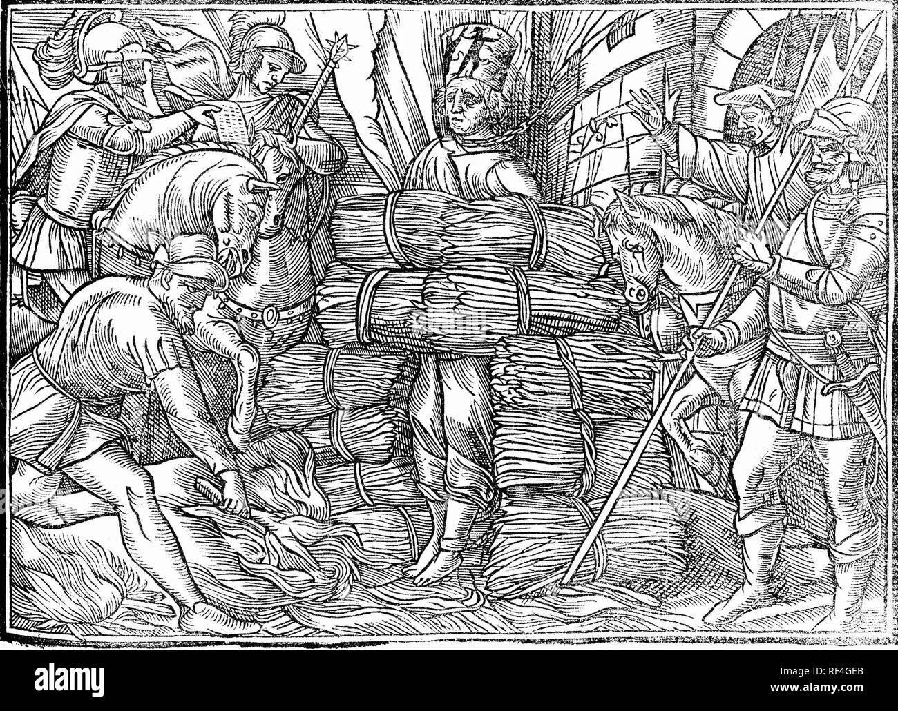 The burning of Jan Hus (1369-1415), a Czech religious thinker and reformer Stock Photo
