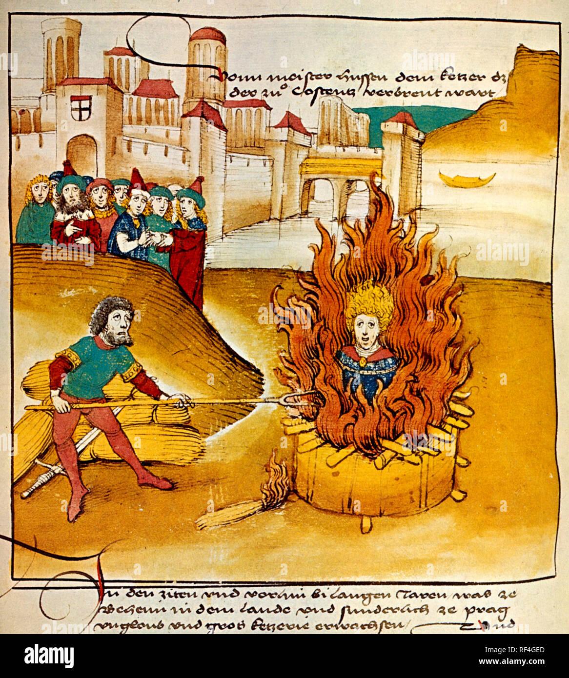 Burning of Jan Hus at the stake - Stock Image