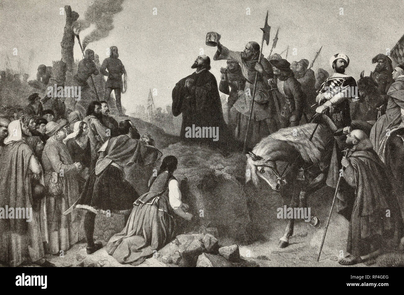 The betrayal of John Huss - Huss is burned as a heretic after being promised protection - Stock Image