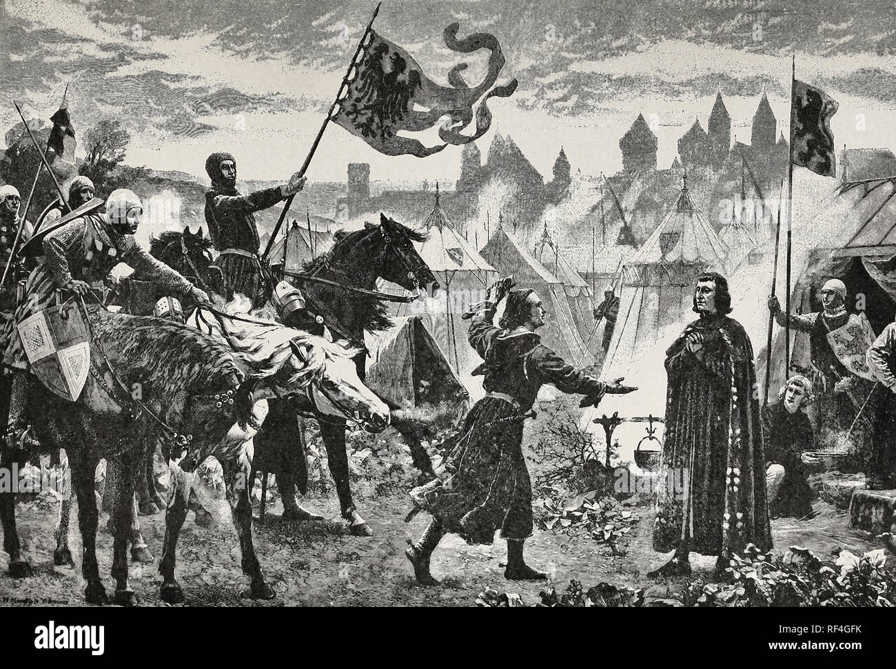 Rudolf of Habsburg receives the announcement of his election as Emperor - Stock Image