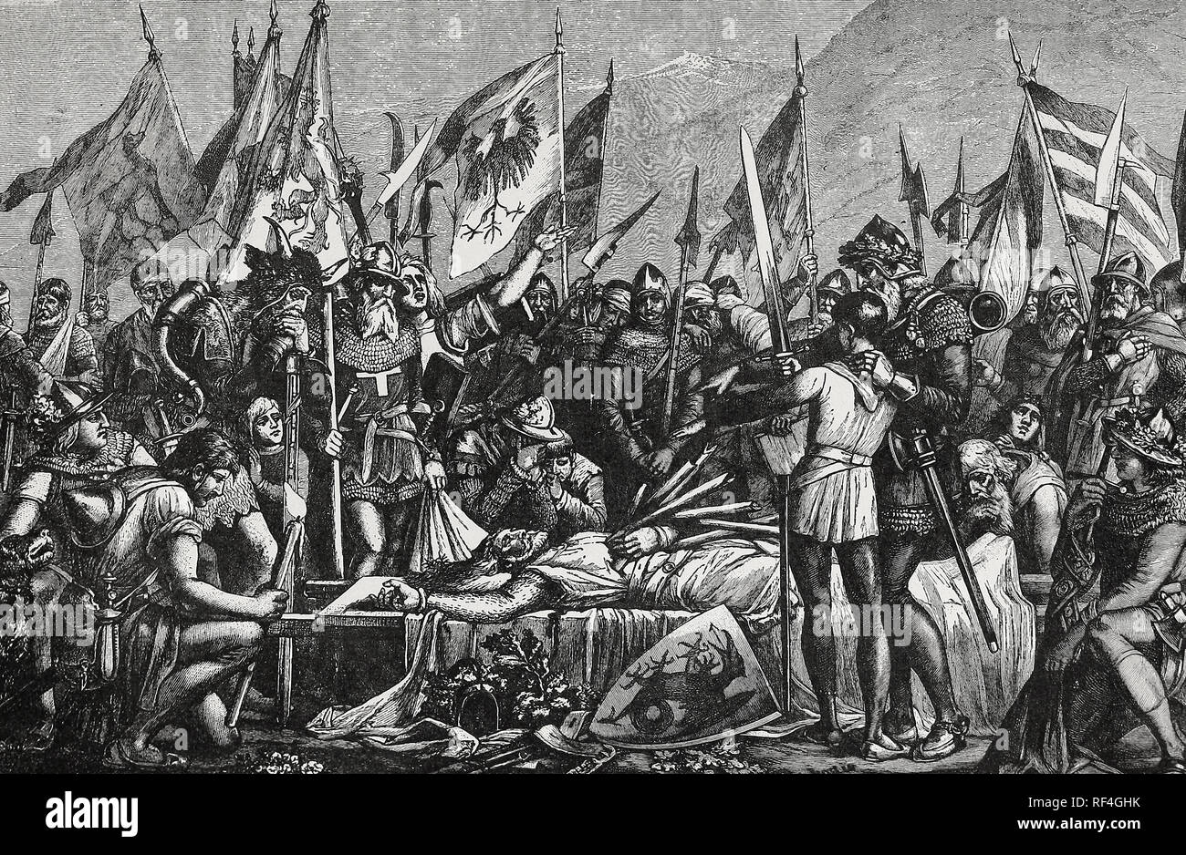 Arnold Winkelried - The Swiss Hero wins his countrymen the Battle of Sempach by sacrificing his own life - Stock Image