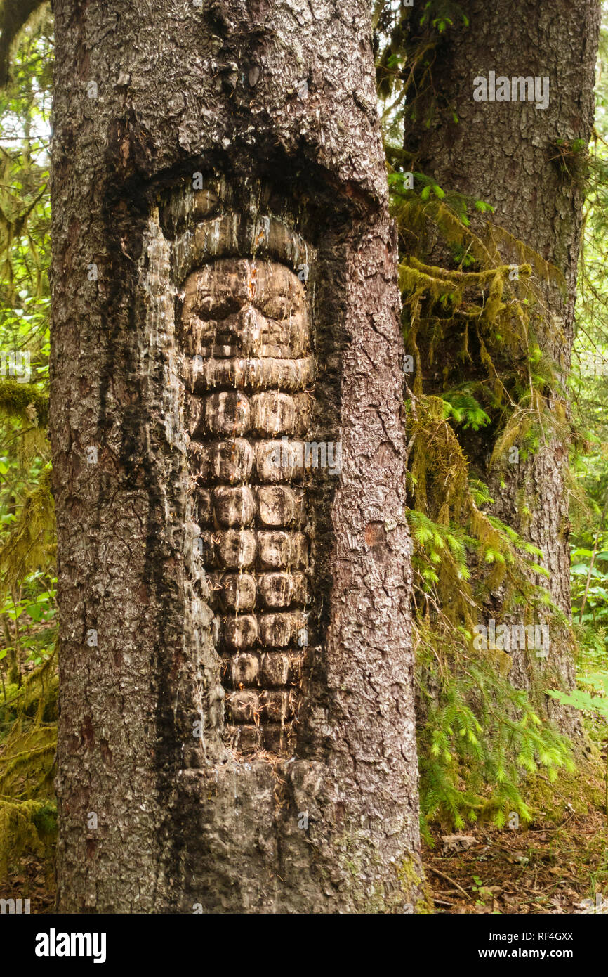 A Tlingit Indian style owl figure carved into a tree near Bartlett Cove, Glacier Bay National Park, Alaska, United States - Stock Image