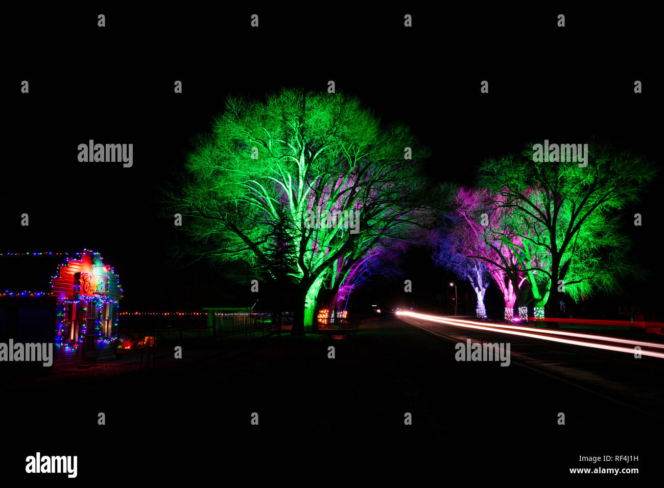 Colorful holiday lights, Torrey, Utah - Stock Image