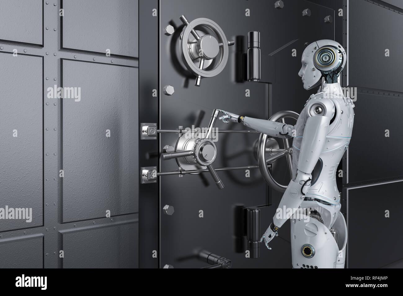 3d rendering humanoid robot open bank vault - Stock Image