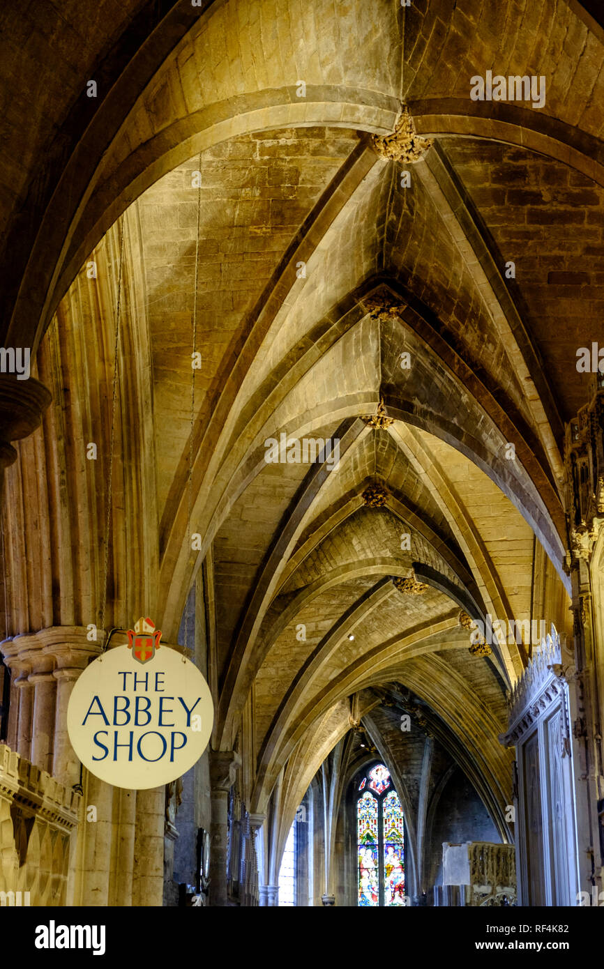 The vaulted ceilings of Tewkesbury Abbey. Tewkesbury a historic town in Gloucestershire England UK Stock Photo