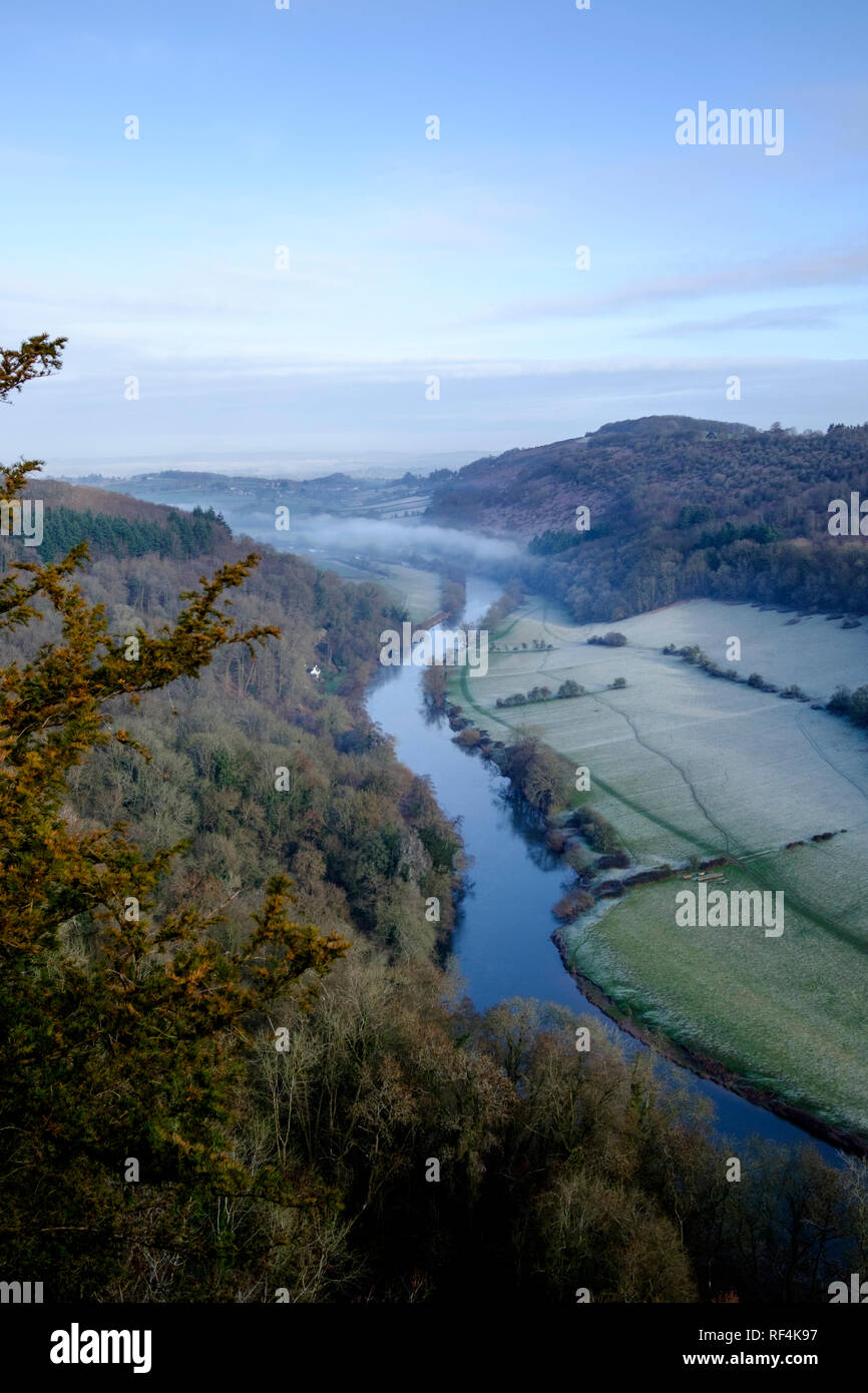 A winter view of the Wye Valley from Symonds Yat Rock - Stock Image