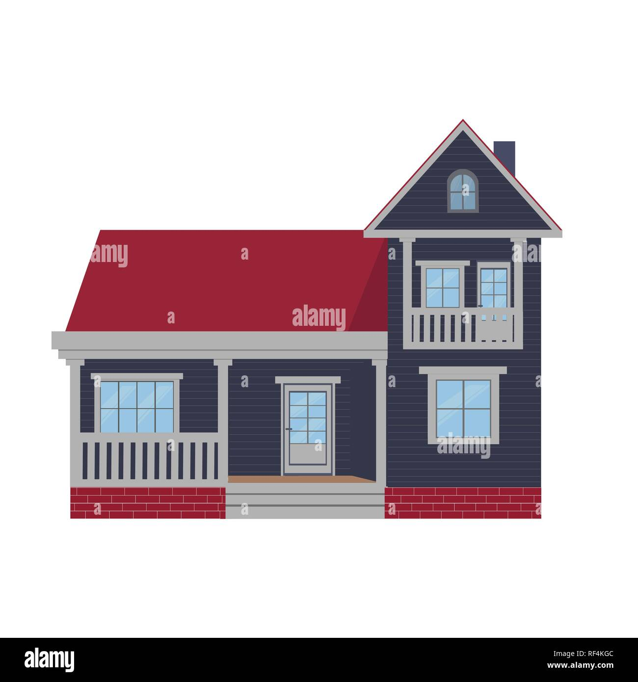 Colorful country house, family cottage, mansion recreation, real estate in provincial style. Facade of residential building. Two-storey family house with rooms, windows, plants. Vector illustration. - Stock Image
