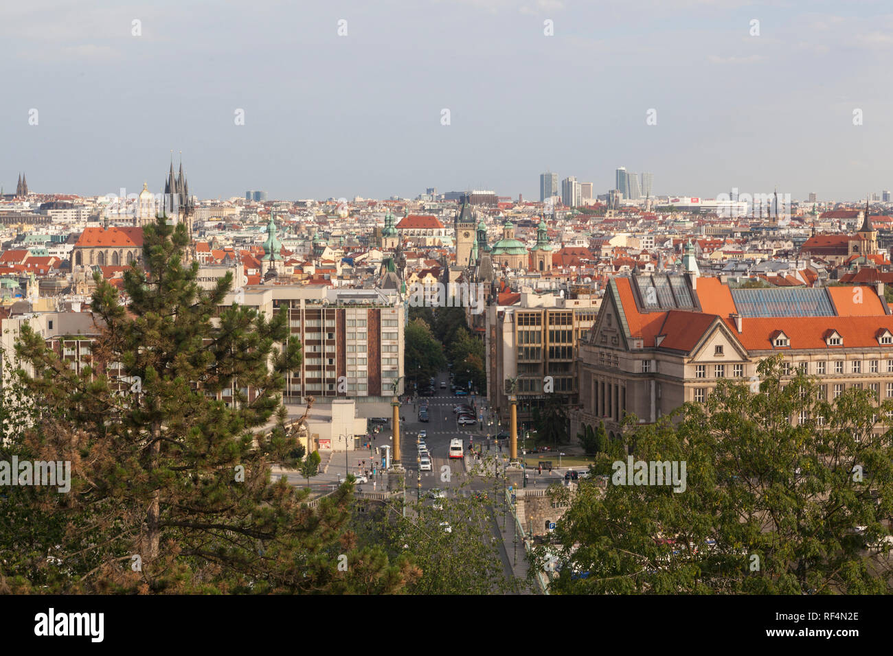 A view to bridge on river Vltava from Letna park in Prague - Stock Image