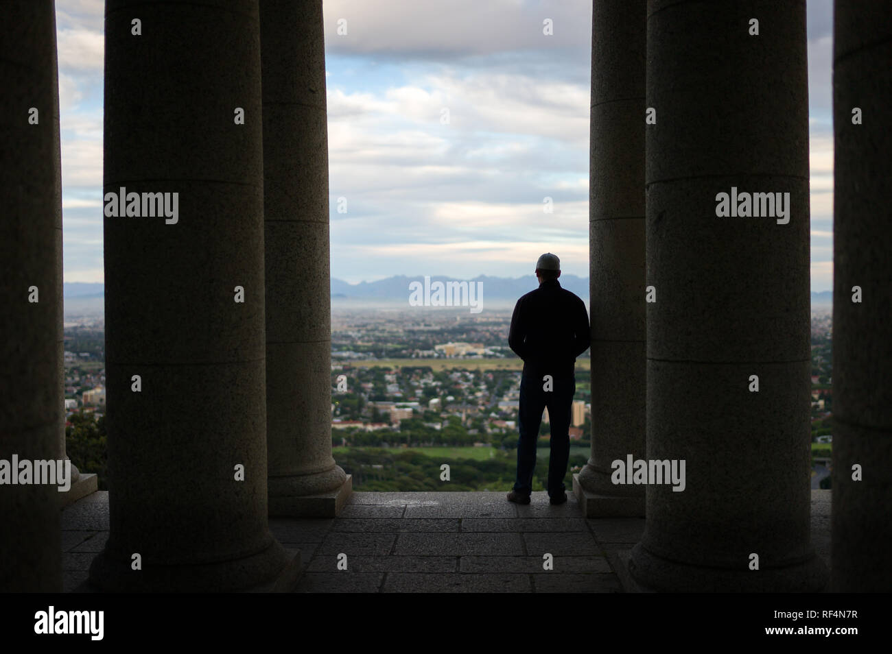 Rhodes Memorial is a popular attraction on the slopes of Devil's Peak in Cape Town, Western Cape, South Africa affording sweeping views of the city - Stock Image