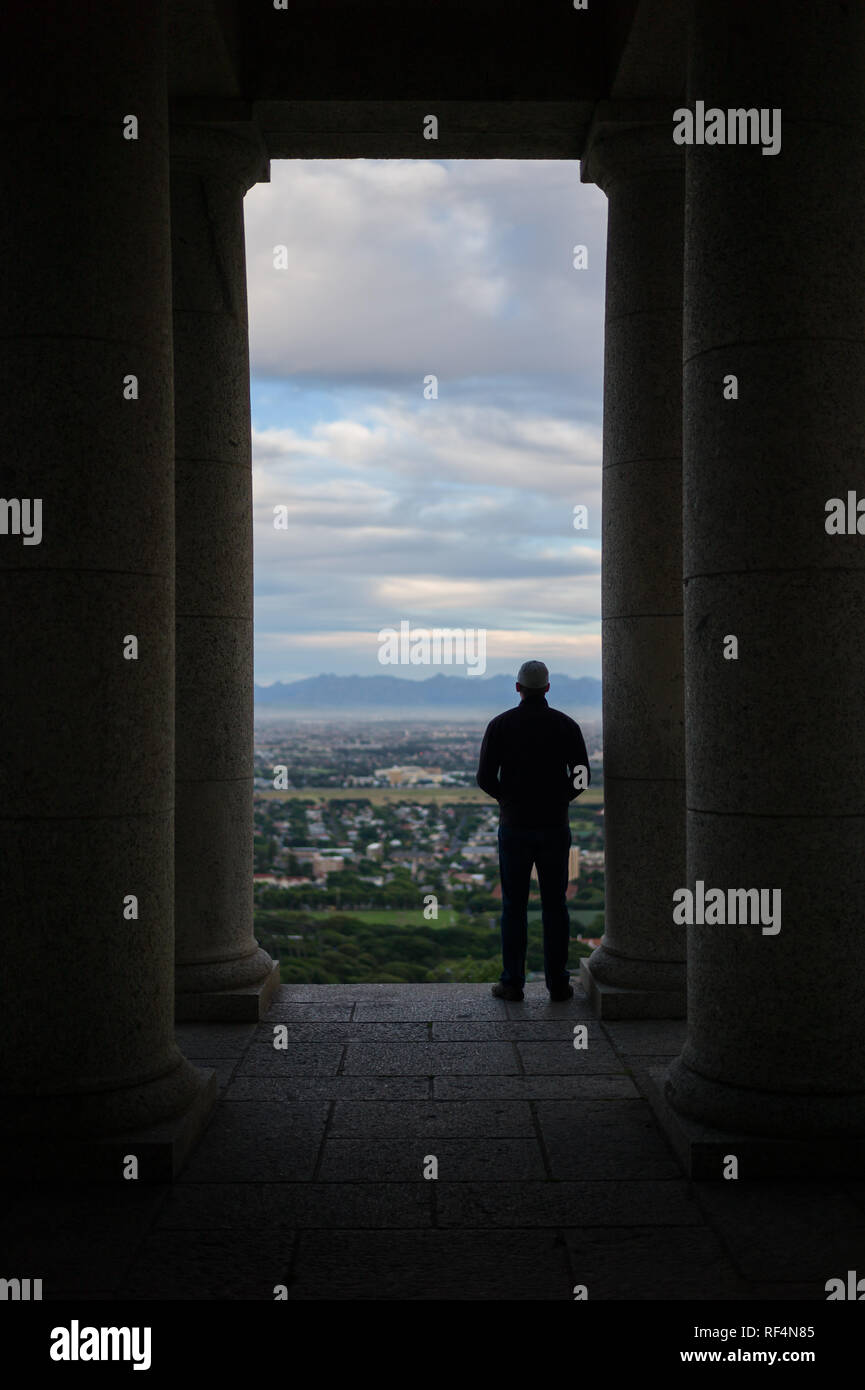 Rhodes Memorial is a popular attraction on the slopes of Devil's Peak in Cape Town, Western Cape, South Africa affording sweeping views of the city Stock Photo