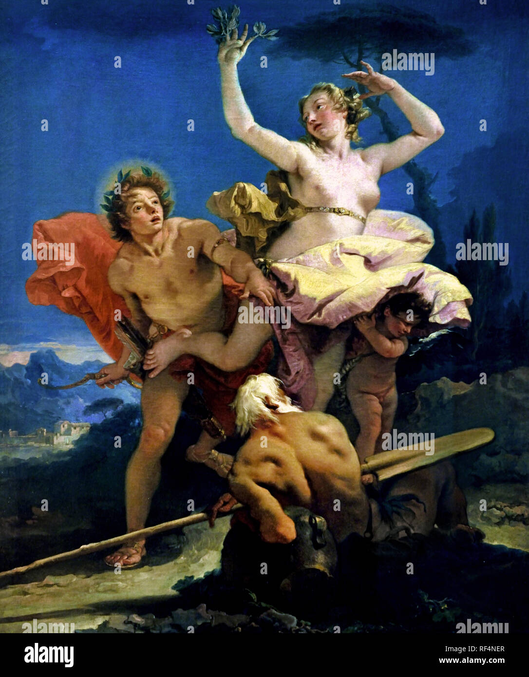 Apollo and Daphne 1743 - 1744 Giovanni Battista TIEPOLO 1696 - 1770  Italy, Italian, (Dramatic of Ovid's Metamorphoses Apollo's Ride and Daphne's Transformation) - Stock Image