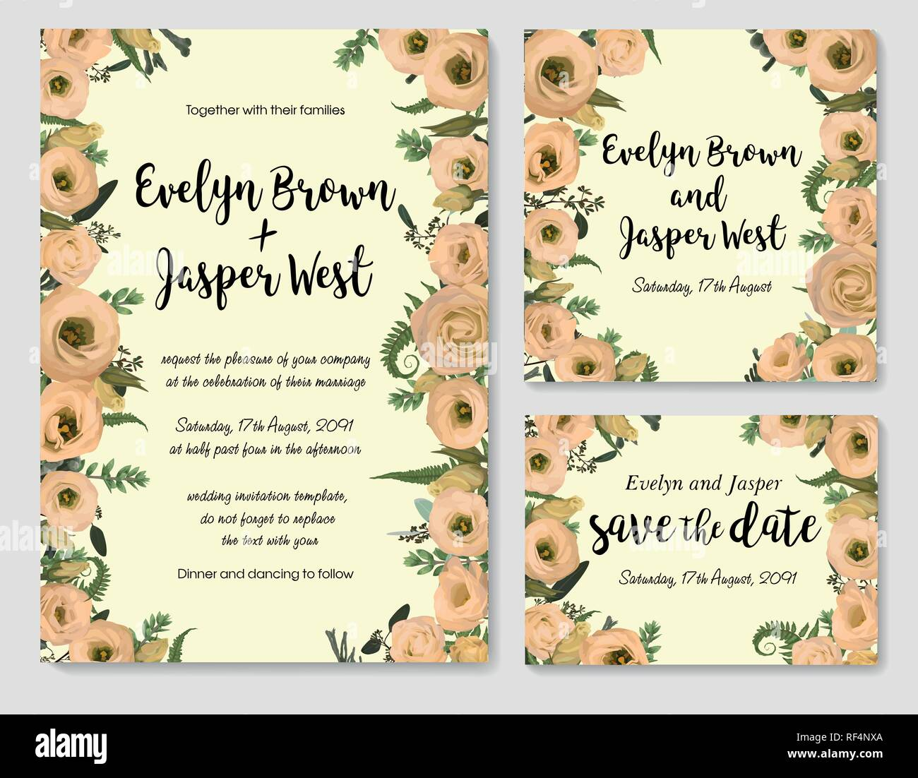 Set of vector wedding invitation, greeting card, save date