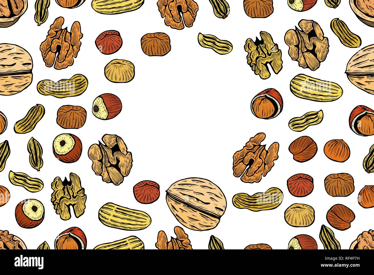 Vector seamless pattern with nuts and seeds. Pistachios, brasil nuts, pecan, hazelnut, nutmeg, cashew background. Hand drawn elements in sketch style. Stock Vector