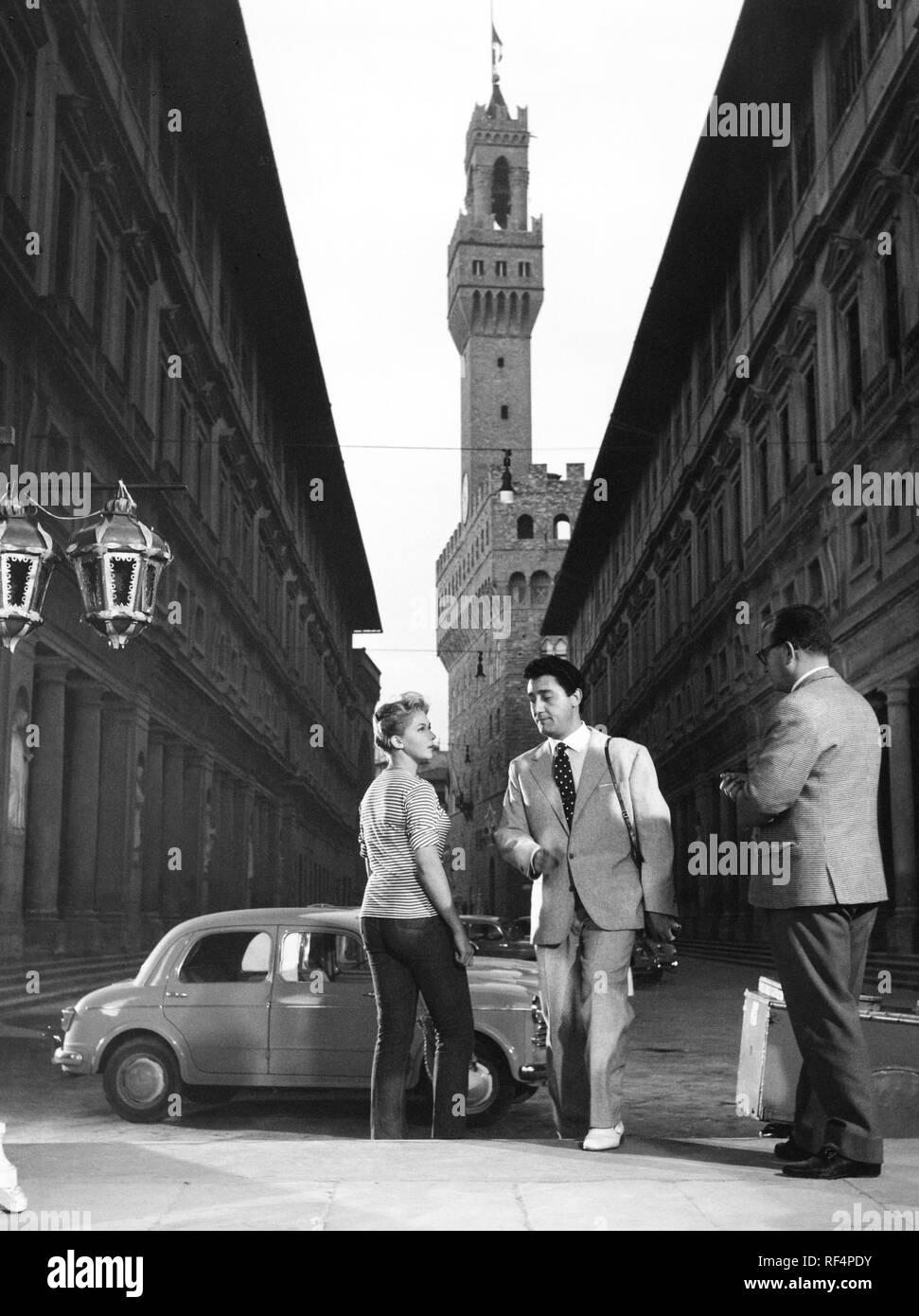 alberto sordi and isabelle corey, souvenir d'italie, 1956 - Stock Image