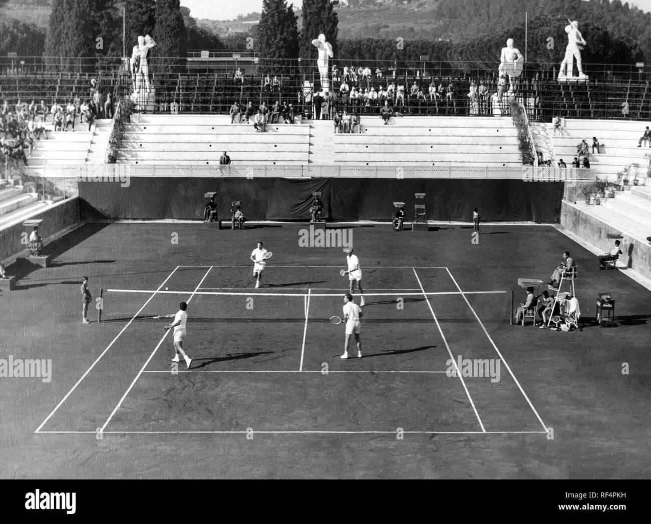 rome, tennis italian championship, orlando sirola and nicola pietrangeli, 1955 Stock Photo