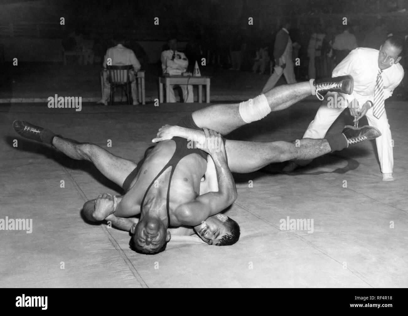greco roman wrestling, kartoziga-nemeti, 1953 Stock Photo