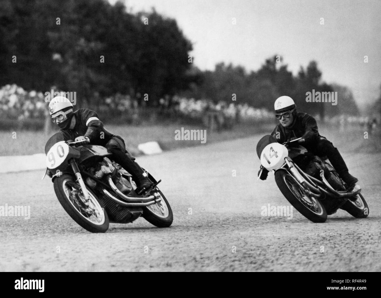 geoff duke and carlo bandirola, gran premio delle nazioni, 1953 Stock Photo