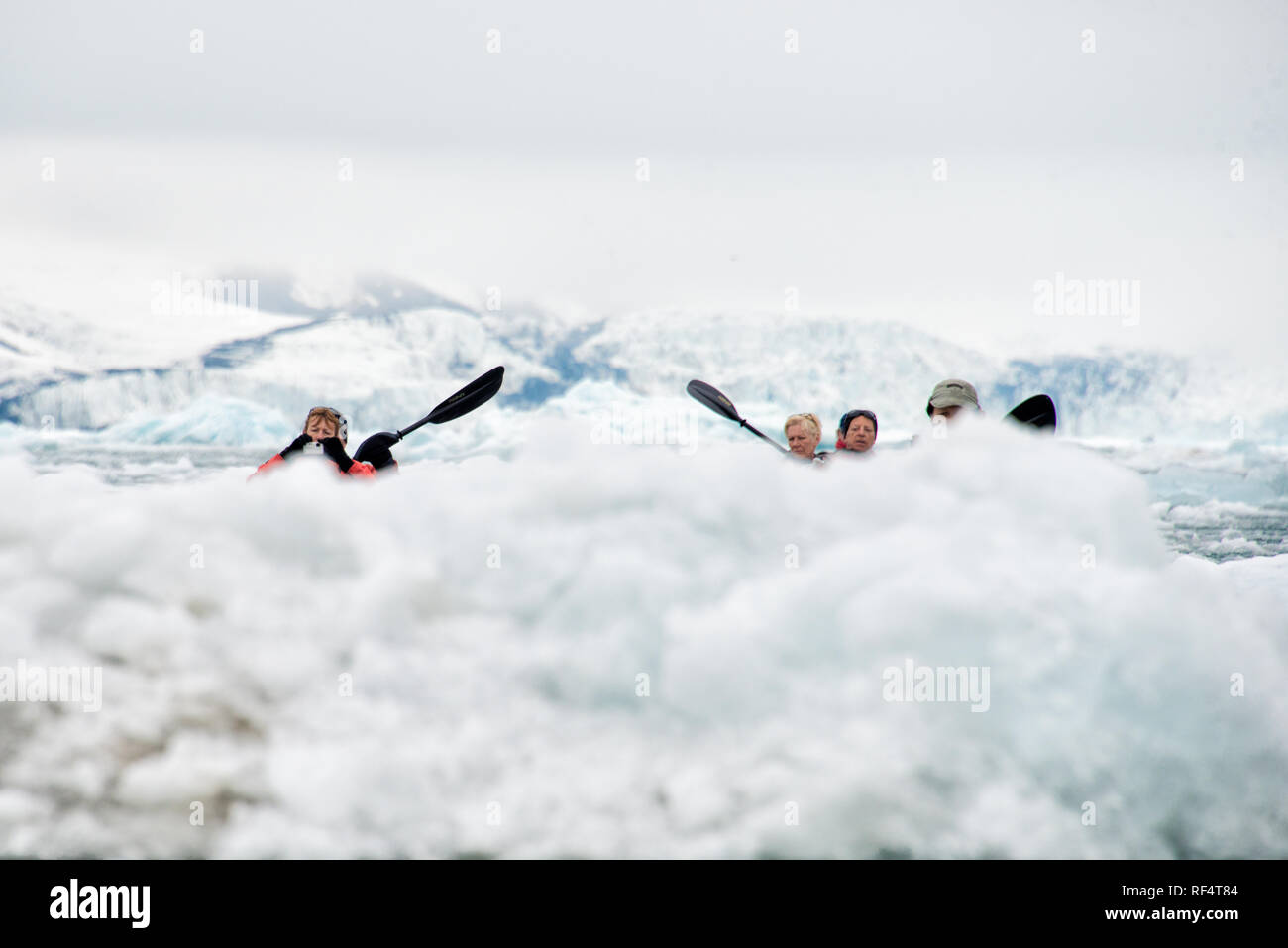 [kayaking in the Arctic] ice Arctic polar - Stock Image
