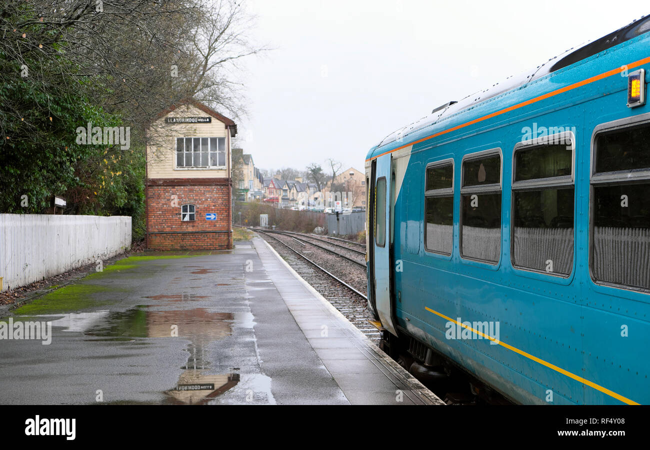 Heart of Wales train line which goes between Swansea and Shrewsbury stops at Llandrindod Wells in Powys Mid Wales UK  KATHY DEWITT - Stock Image