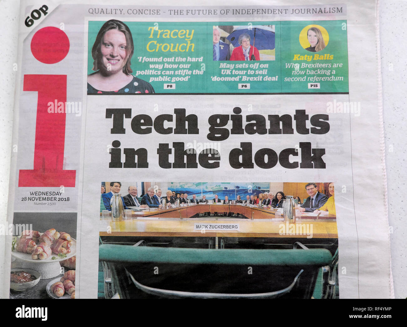 i newspaper front page 'Tech giants in the dock'  28 November 2018  London England UK - Stock Image