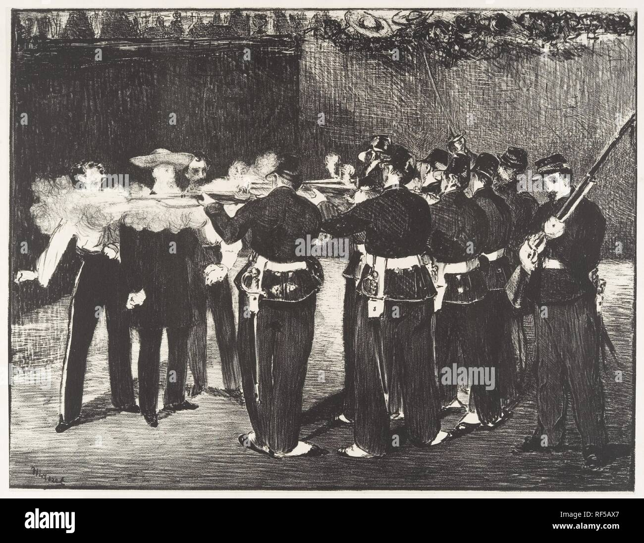 The Execution of the Emperor Maximilian (L'exécution de Maximilien). Artist: Édouard Manet (French, Paris 1832-1883 Paris). Dimensions: 13 3/8 x 17 1/4in. (34 x 43.8cm)  Sheet: 17 1/2 x 23 3/4in. (44.5 x 60.3cm). Date: 1868. Museum: Metropolitan Museum of Art, New York, USA. - Stock Image