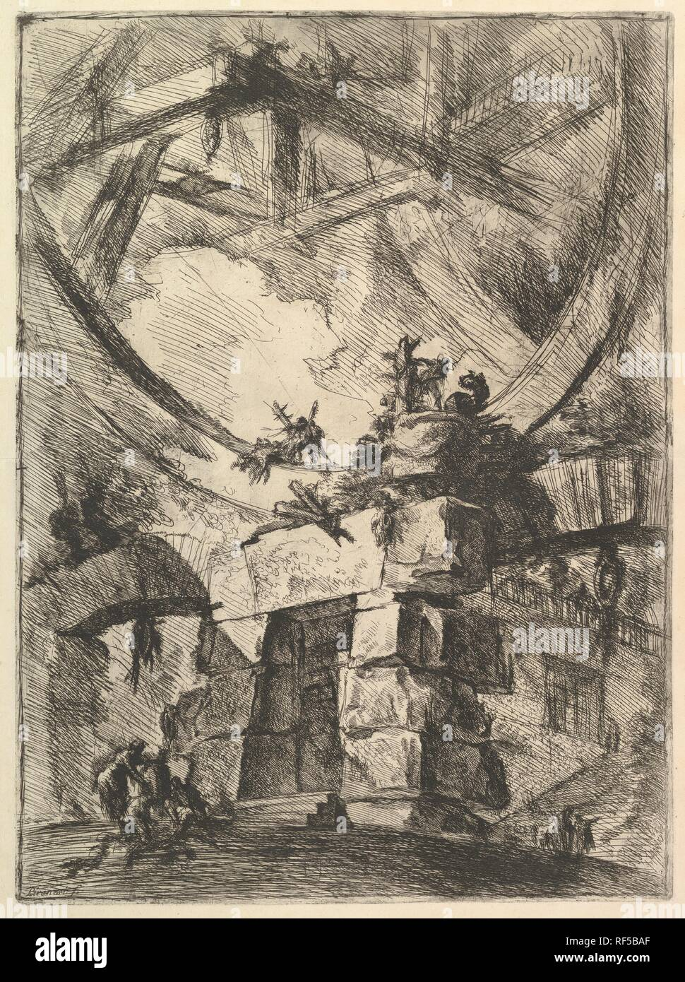The Giant Wheel, from Carceri d'invenzioni (Imaginary Prisons). Artist: Giovanni Battista Piranesi (Italian, Mogliano Veneto 1720-1778 Rome). Dimensions: Sheet: 25 1/16 x 19 1/2 in. (63.6 x 49.5 cm)  Plate: 21 5/8 x 16 1/16 in. (55 x 40.8 cm). Publisher: Giovanni Bouchard (French, ca. 1716-1795). Series/Portfolio: Carceri d'invenzione (Imaginary Prisons). Date: ca. 1749-50. Museum: Metropolitan Museum of Art, New York, USA. Stock Photo