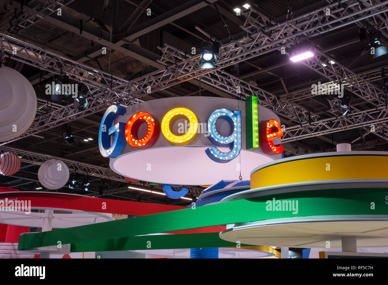 Google signage at the British Educational Technology Trade Show (BETT) at the Excel Centre, London, UK - Stock Image