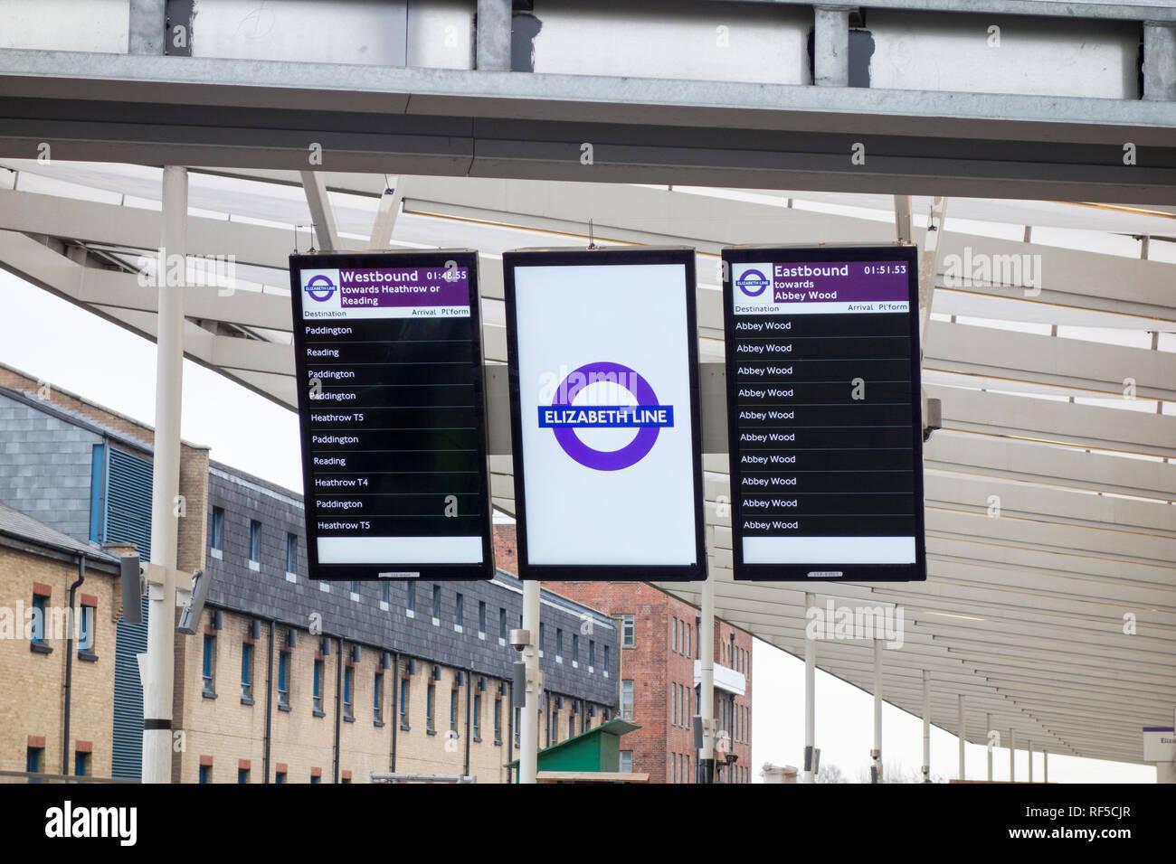 Elizabeth line station platform indicators at Custom House, London, UK - Stock Image