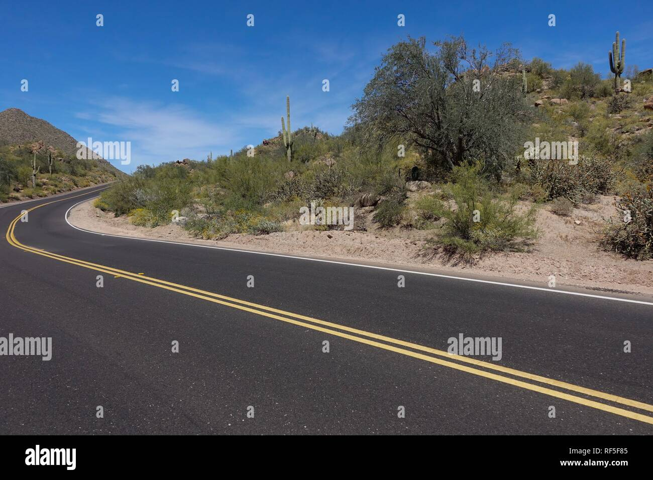 A view of an empty road winding through the desert in Arizona. - Stock Image