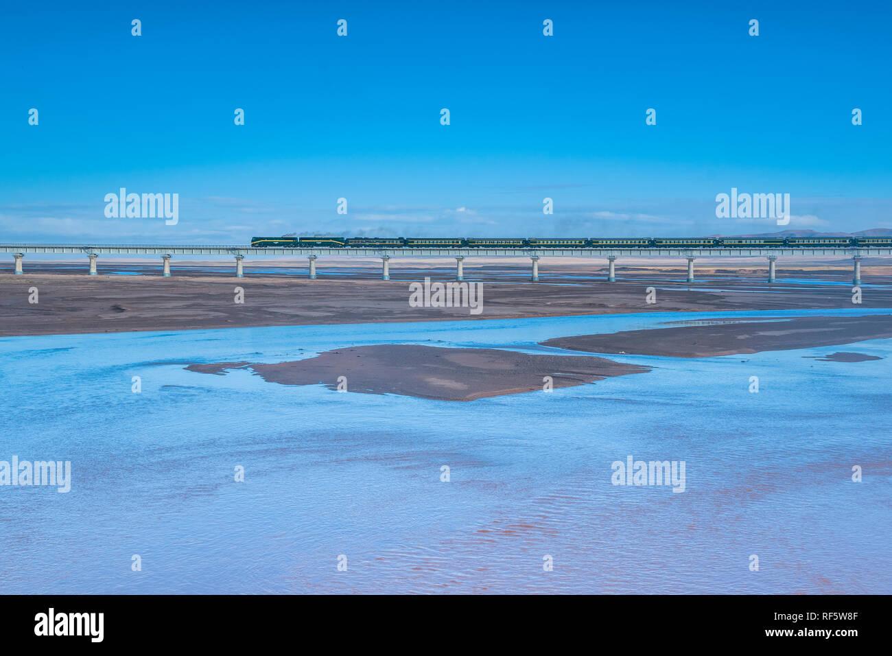 Railway tracks of Qinghai-Tibet railway, Tibet Autonomous Region, China - Stock Image