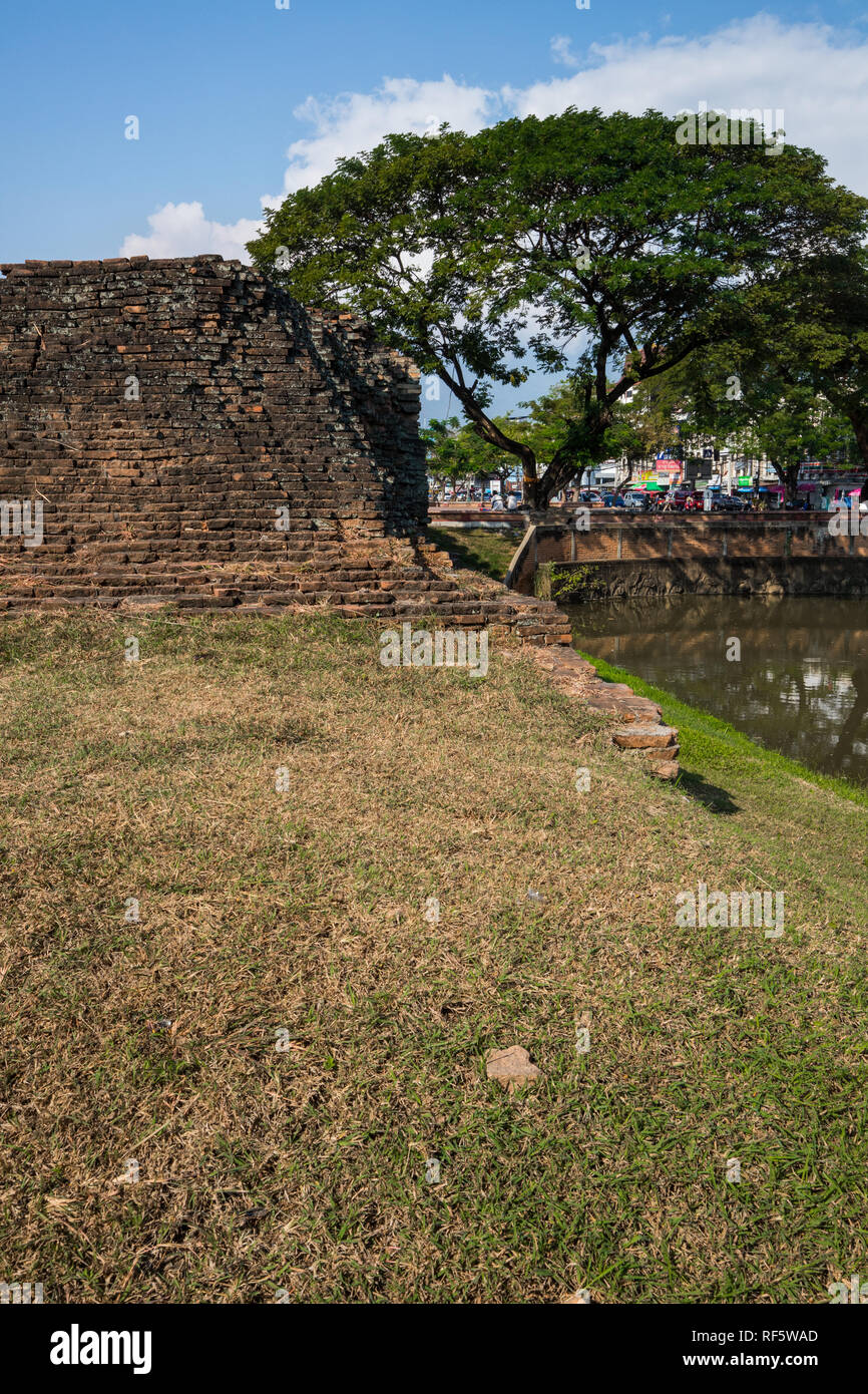 The layout of Chiang Mai was based on old military and astrological beliefs. King Mengrai ordered the construction of a perimeter wall and moat; laid  - Stock Image