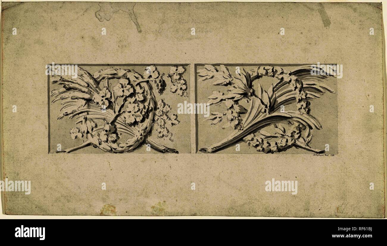 Design for two decorations in rectangular recessed surfaces. Draughtsman: Bartholomeus Ziesenis (mentioned on object). Dating: 1787. Measurements: h 202 mm × w 355 mm. Museum: Rijksmuseum, Amsterdam. - Stock Image