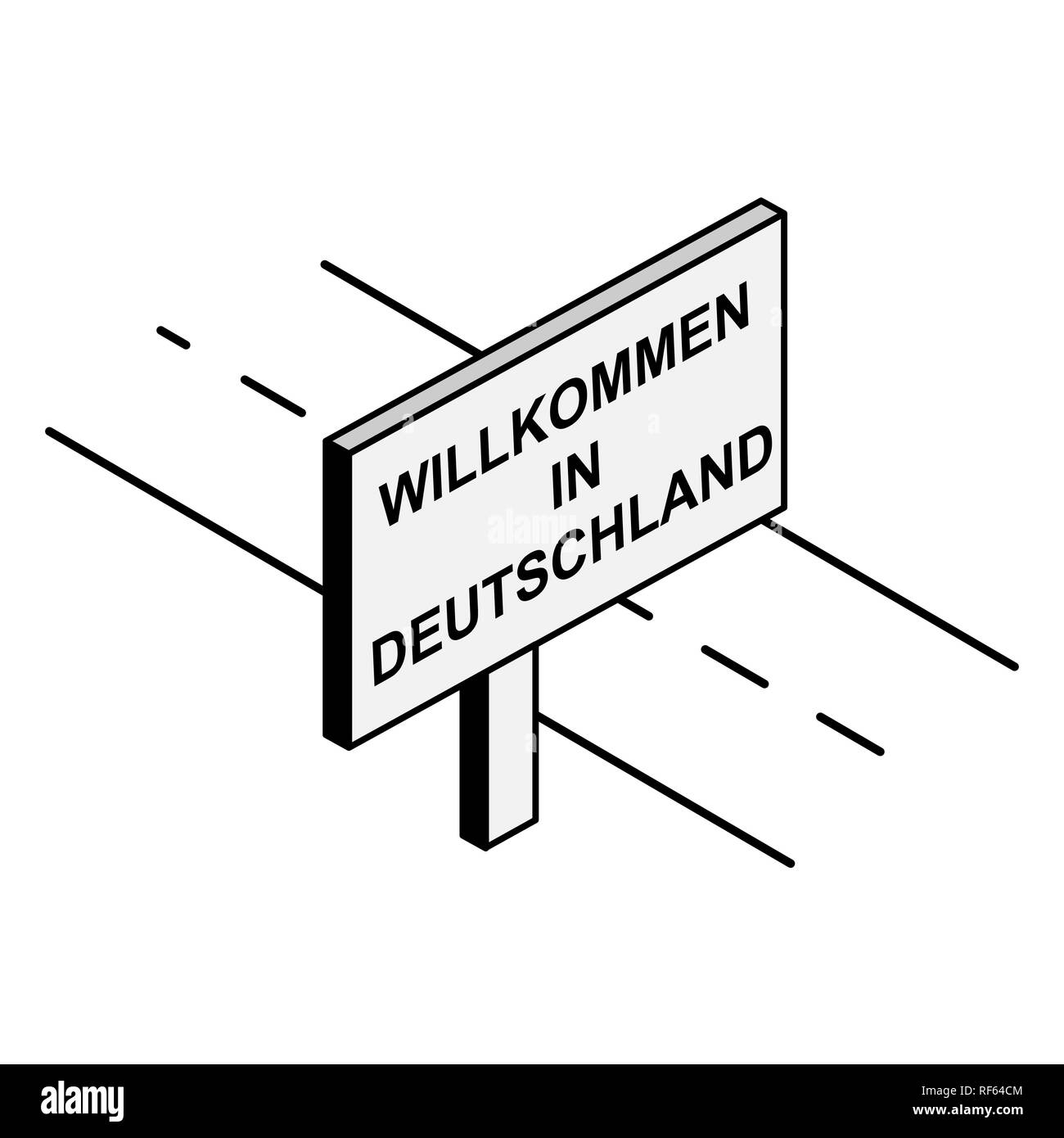 Billboard on the road with the inscription welcome to Germany, German language Stock Vector