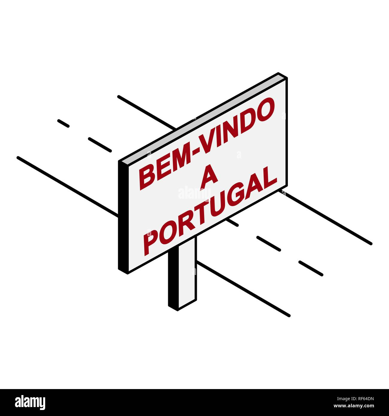 Billboard on the road with the inscription welcome to Portuga, Portuguese language Stock Vector