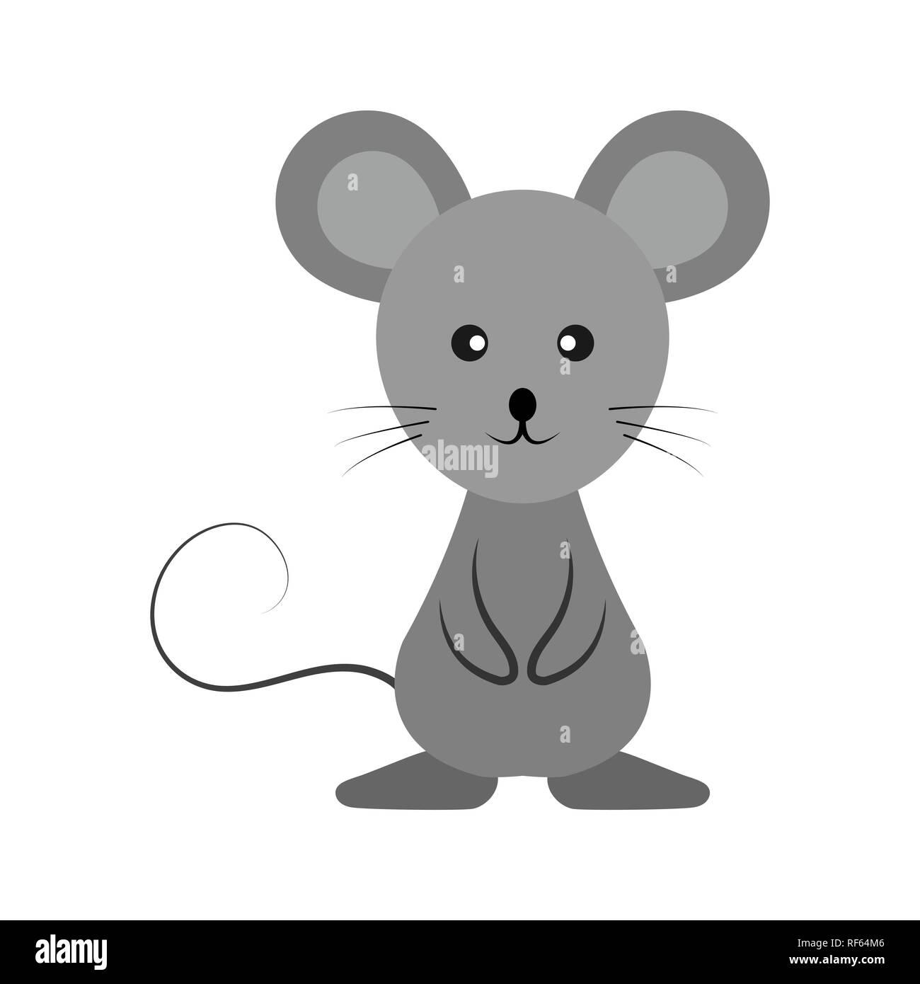 Gray Mouse Cartoon Simple Drawing Animal Stock Vector Art