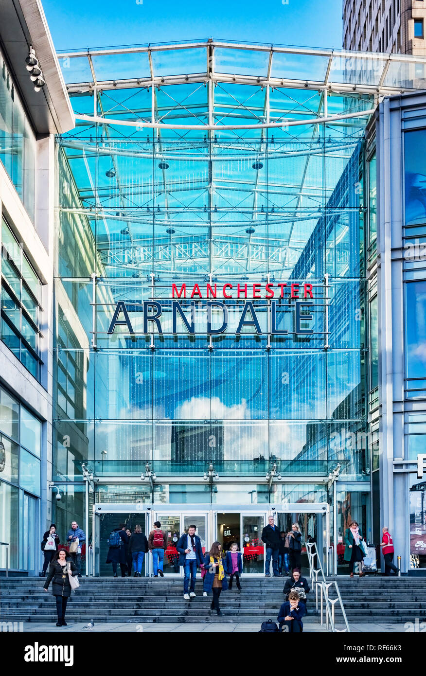 2 November 2018: Manchester, UK -  Corporation Street entrance to the Manchester Arndale shopping centre, one of the largest in the UK. Stock Photo