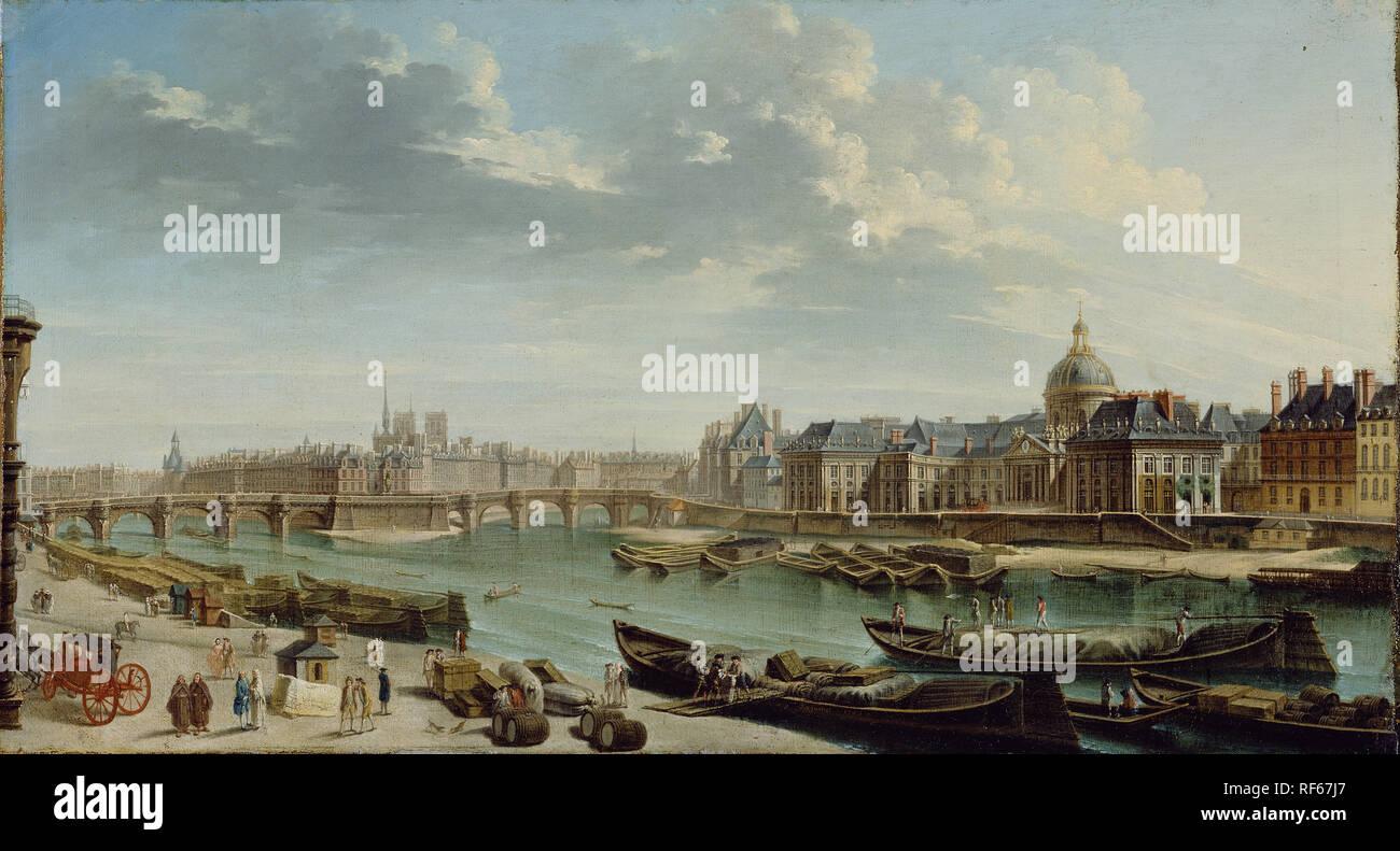 A View of Paris with the Ile de la Cité; Jean-Baptiste Raguenet (French, 1715 - 1793); 1763; Oil on canvas; 46 x 84.5 cm (18 1/8 x 33 1/4 in.); 71.PA.25 - Stock Image
