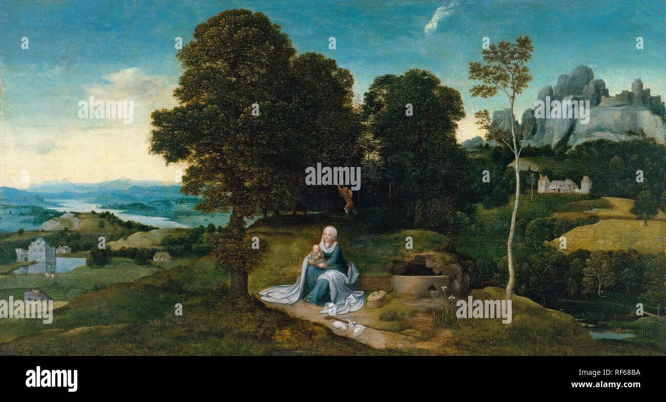 PATINIR, Joachim_Paisaje con el descanso en la huida a Egipto, c. 1518-1524_314 (1930.85) - Stock Image