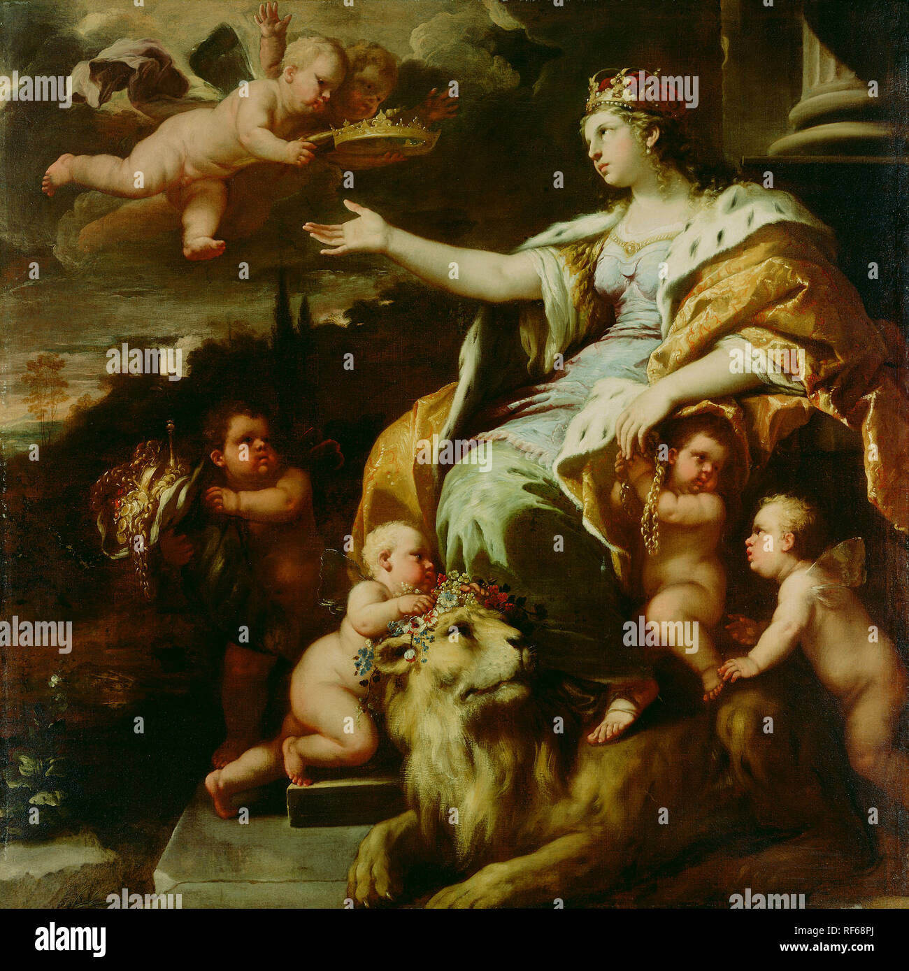 Allegory of Magnanimity; Luca Giordano (Italian (Neapolitan), 1634 - 1705); about 1670; Oil on canvas; 180.3 x 180.3 cm (71 x 71 in.); 69.PA.28 Stock Photo