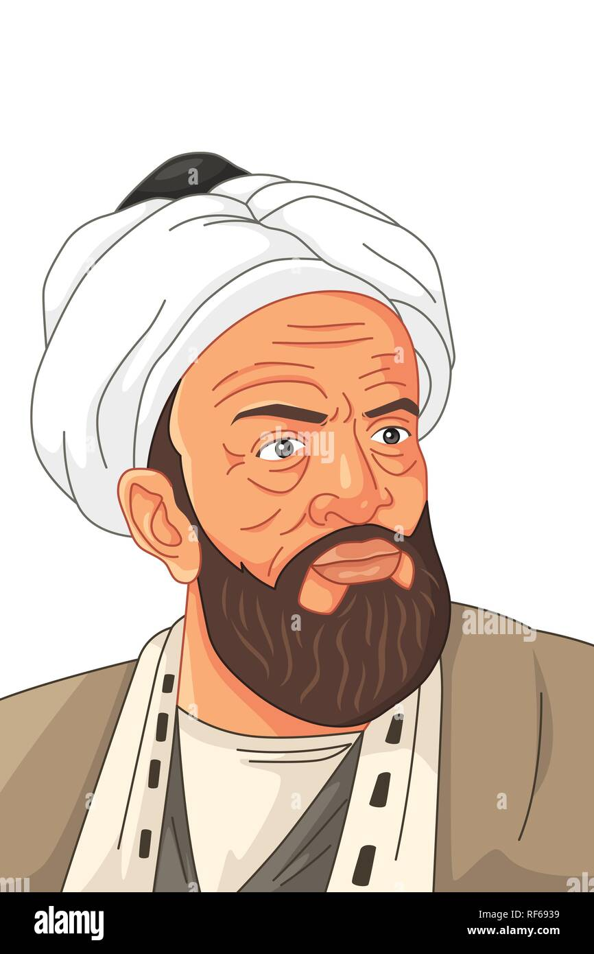 A vector illustration of Al-Biruni Muslim Scholar - Stock Vector