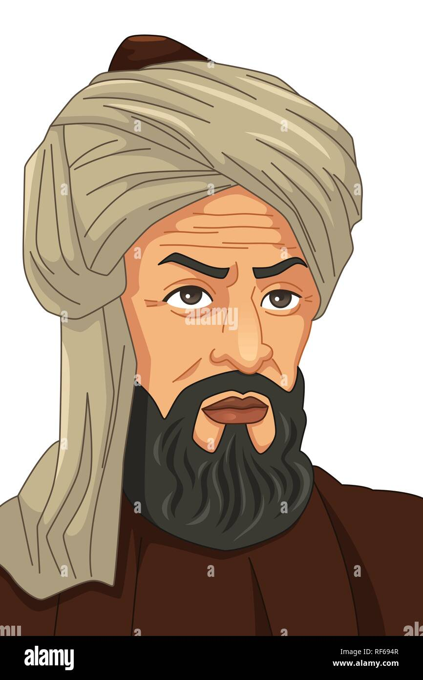 A vector illustration of Al-Khwarizmi Muslim Scholar - Stock Vector