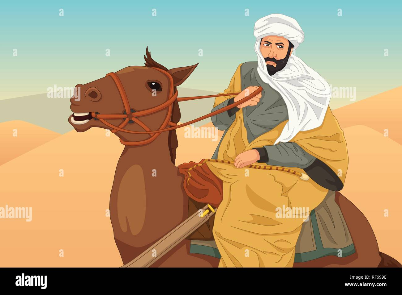 A vector illustration of Ibn Battuta Riding a Horse - Stock Vector