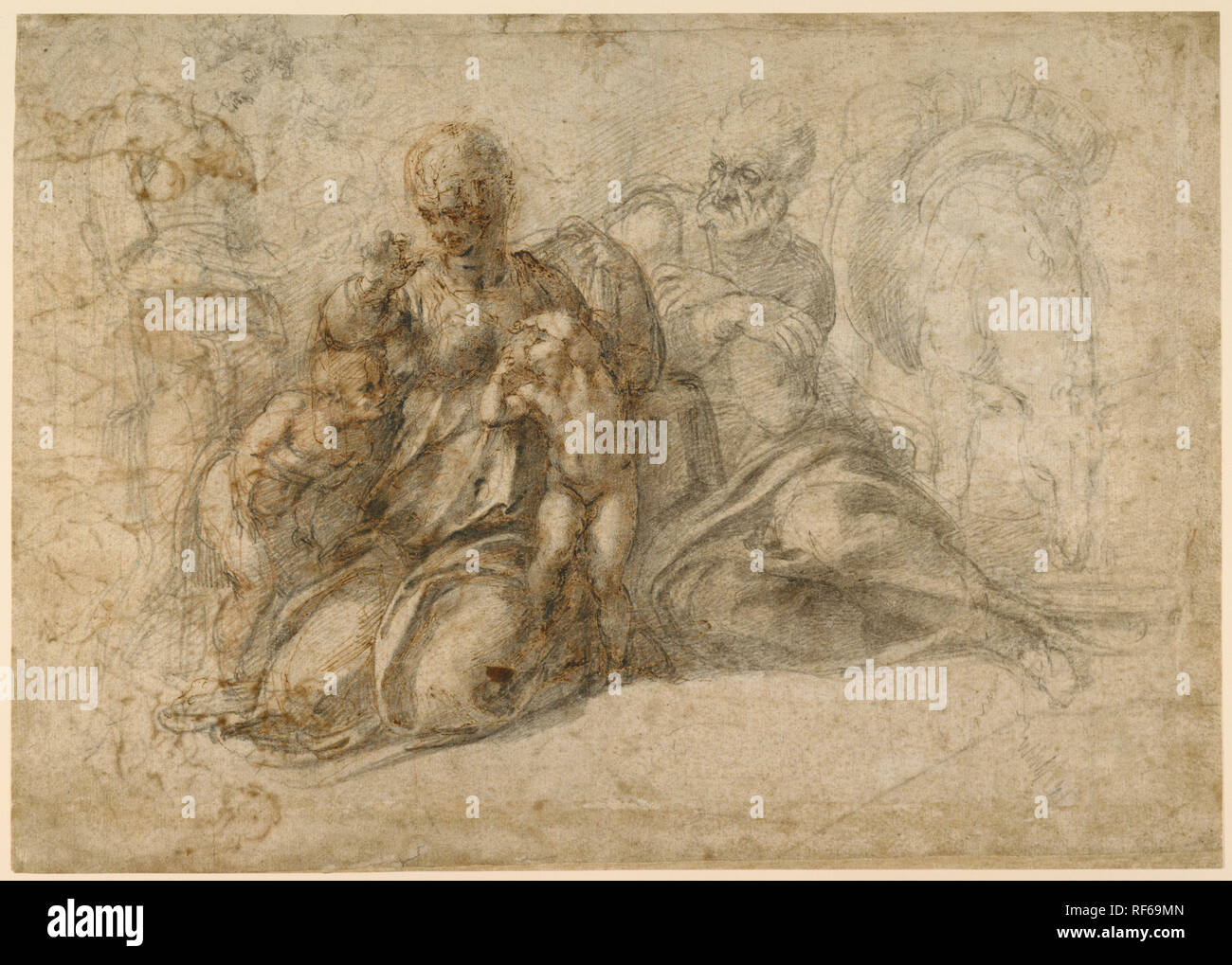 The Holy Family (recto); Amorous Putti (verso); Michelangelo Buonarroti (Italian, 1475 - 1564); Italy; about 1530; Black and red chalk with pen and brown ink over stylus (recto); Pen and black and brown ink (verso); 27.9 x 39.4 cm (11 x 15 1/2 in.); 93.GB.51 Stock Photo