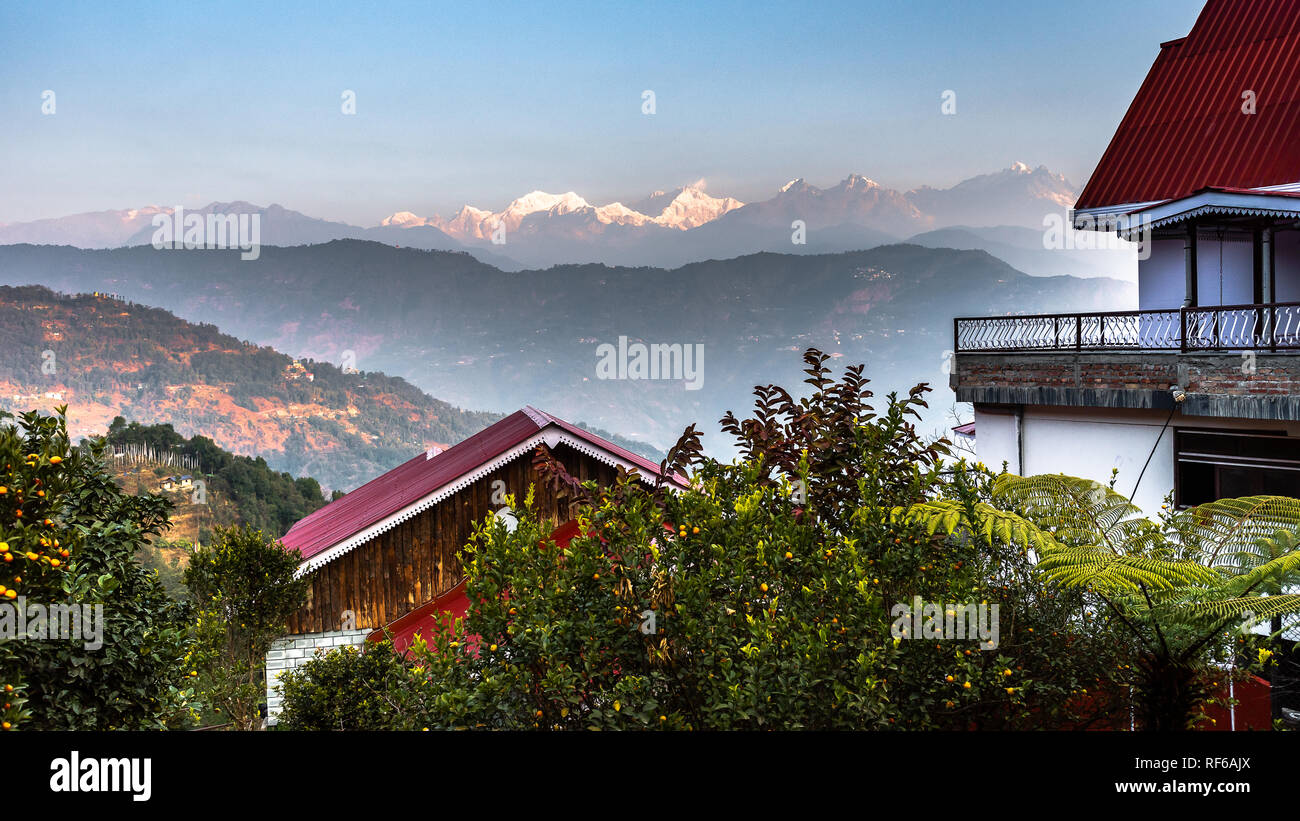 View from Resort balcony of Mountain Kanchenjunga of Himalayan Range, the third highest mountain in the world at the time of Sunrise. - Stock Image