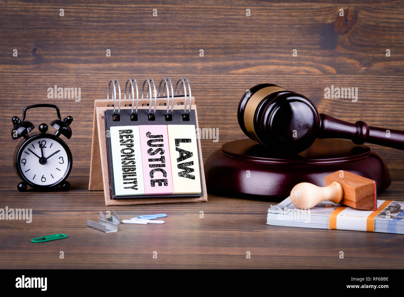law, justice and responsibility concept - Stock Image